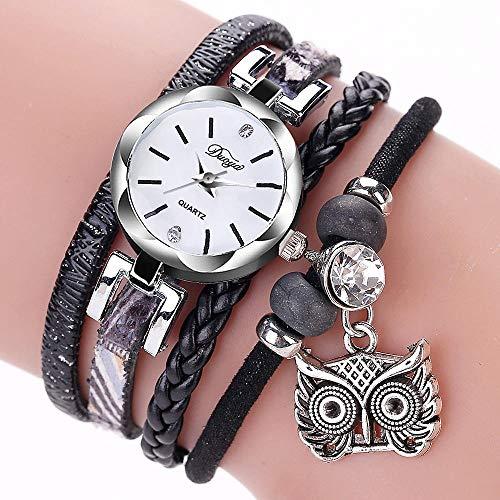 Powzz - Reloj de pulsera trenzada para hombre, estilo retro, color negro