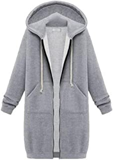 WUFAN Womens with Hood Pocketed Full-Zip Solid Casual Long Coat Outwear