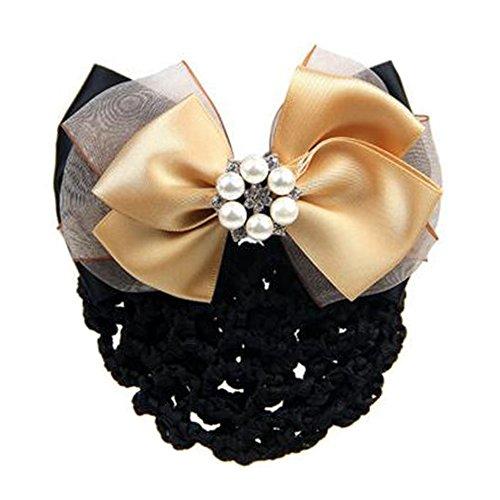 2 pièces bowtie maille élastique Bun couvre cheveux barrette poils cheveux pour dames, champagne