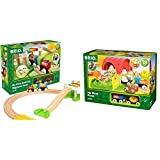 Brio My First Railway – 33727 Beginner Pack | Wooden Toy Train Set for Kids Age 18 Months and Up & World - 33826 My First Farm | 12 Piece Wooden Toy Train Set for Kids Ages 18 Months and Up