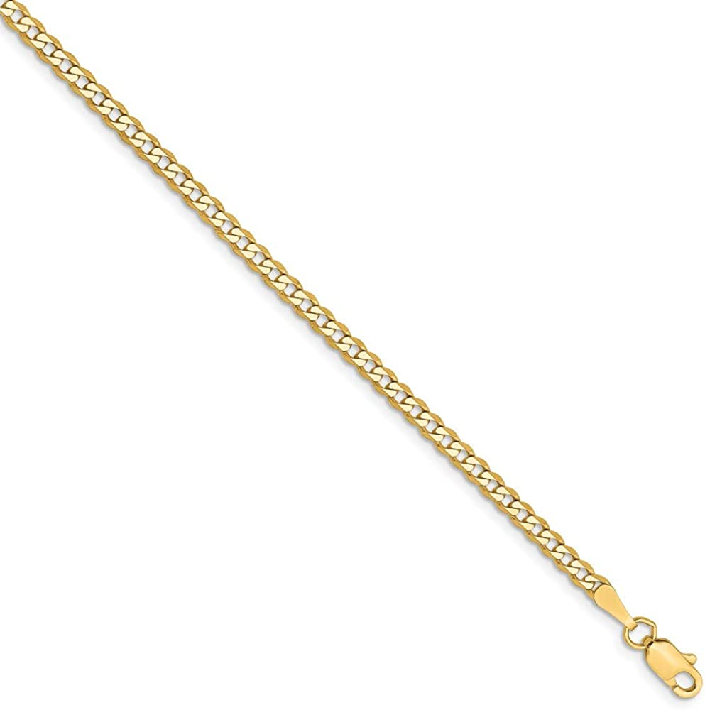 Black Bow Jewelry 14k Yellow Gold 2.3mm Solid Beveled Curb Chain Anklet