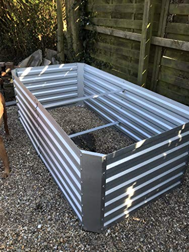 Metal Garden Raised bed Rectangular L180cm W90cm H60cm Strong construction Cream or Galvanised metal (Galvanised Metal)