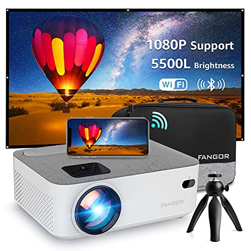 Mini WiFi Projector, FANGOR 5500L Bluetooth Portable Movie Projector Full HD 1080P Supported, Compatible with TV Stick, HDMI, VGA, USB, Laptop, iOS Android Smartphone Projector