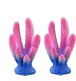 JONJUMP 2 piezas de resina colorida para acuario, arrecife de coral artificial, decoración de acuario, pecera, piedra de coral Lanscaping, accesorios de adorno