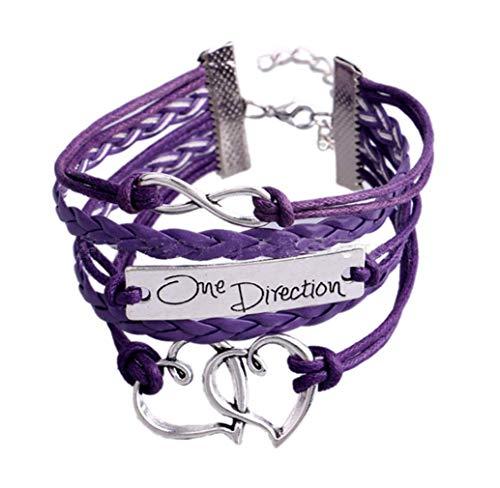 BelongsU Mujer Pulsera Infinito Cuero PU Pulsera Tejida One Direction Firmar Cadena de Mano Clásico Cadena de Puño Brazalete Pulsera de Joyería, Púrpura