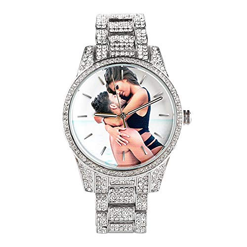 Die Uhr der personalisierten Bling-ed heraus Frauen, runde Luxusfrauen-Uhr-Kristallrhinestone-Diamant passt die Edelstahl-Armbanduhr auf, die mit irgendeinem Foto nach Maß ist