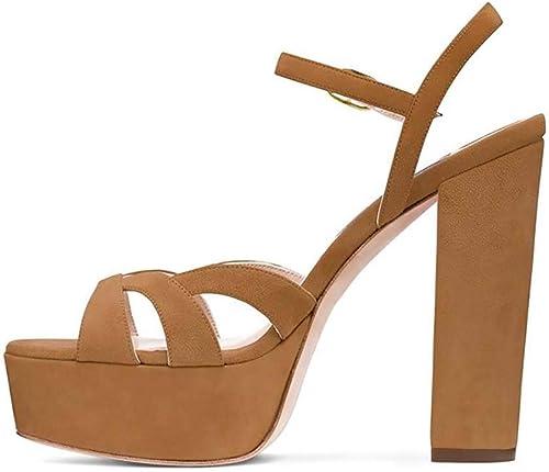 XLY Femmes Chunky Block Sandales Au Talon, Sexy Ouvert Toe Cheville Strap Plate-Forme Robe De Mariée De Mariage Pompes Chaussures,marron,34