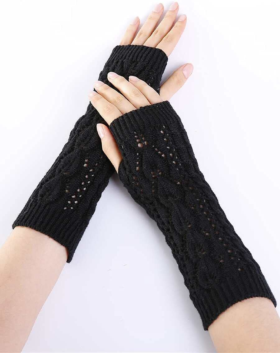 ZZTT Autumn and Winter Gloves Knit Long Fingerless Gloves Warm and Comfortable Gloves for Men or Momen (Color : Black, Size : One-Size)