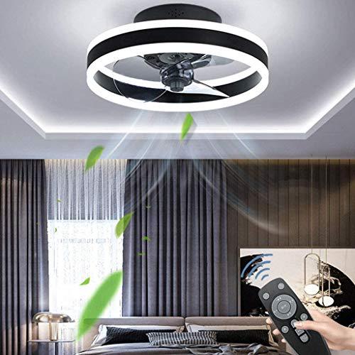 Moderne Deckenventilator Mit Beleuchtung LED, 60W Dimmbar Deckenleuchte Mit Fernbedienung, Unsichtbar Ruhig, Einstellbare Windgeschwindigkeit, Für Wohnzimmer Schlafzimmer (Ø50CM),Schwarz