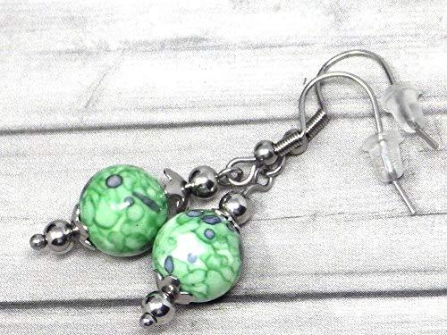 Pendientes de mujer en acero inoxidable y perlas de Jade tintadas en verde y negro
