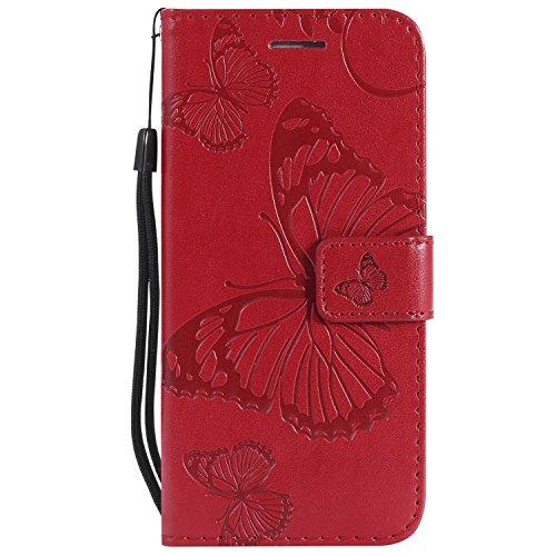 DENDICO Cover iPhone 6, Cover iPhone 6s (4.7'), Pelle Portafoglio Custodia per Apple iPhone 6 / iPhone 6s Custodia a Libro con Funzione di appoggio e Porta Carte di cRossoito - Rosso