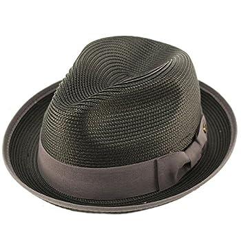 EPOCH Men s Classy Travel Crushable 2tone Derby Fedora Upturn Curl Brim Hat S/M Black