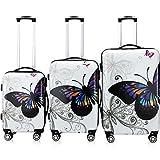Monzana® 3tlg. Koffer Set Hartschalenkoffer - Butterfly mit Schloss - 360° Rollen - Reisekoffer Trolley M L XL