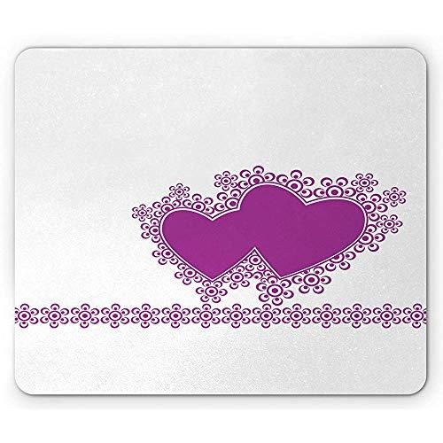 Liebes-Mausunterlage,Herz-Motiv-Liebes-Symbol-Romantischer Digitaler Illustrations-Druck Auf Einfachem Hintergrund,Rutschfestes Gummi-Mousepad des Rechtecks