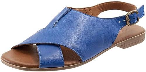 YKDDHH Sandales de Haute qualité pour Femmes Sandales d'été pour la Plage, Chaussures pour Femmes Sandales à Boucles et à Boucle rétro Chaussures Plates pour Les Les dames Nouvel été Personnalité antidérapan