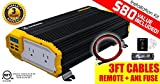 KRIËGER 1500 Watt 12V Power Inverter Dual 110V AC outlets, Installation kit Included, Automotive Back up Power Supply for Blenders, vacuums, Power Tools and Emergency, Hurricane, Storm or Outage