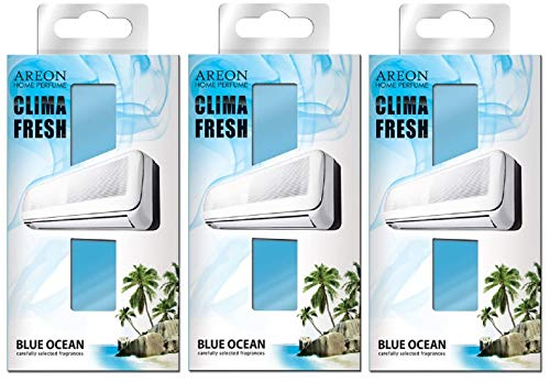 Areon Clima Fresh Désodorisant Maison Océan Bleu Climatiseur Rafraichisseur d Air Blue Ocean Lot de 3