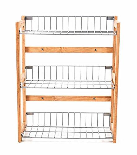 Küchenregal Bambus/Stahl, 3 Fächer, hygienische Gitterböden, puristisches Design, 42 x 33 x 13 cm