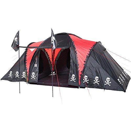 Skandika Isla De Muerta 4022 - Tenda Pirata Famiglia -530X370Cm -6 Persone -Nero/Rosso