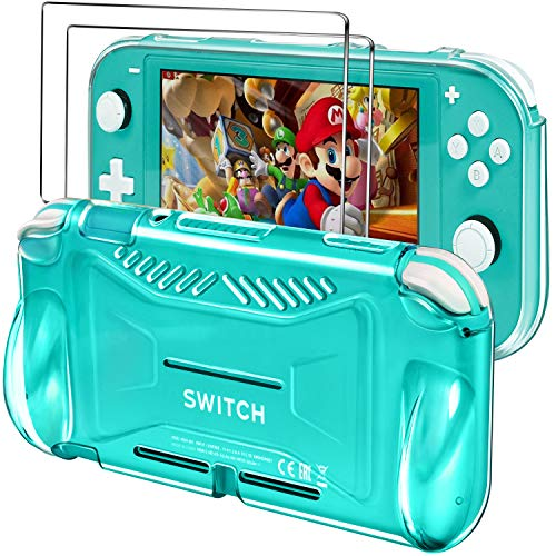 iVoler Protective TPU Glitter Case for Nintendo Switch Lite 2019 with 2 Pack Tempered Glass Screen Protector, Grip Cover with Shock-Absorption and Anti-Scratch Design, HD Clear
