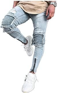 Men Jeans Daoroka Men's Ripped Slim Fit Straight Zipper Denim Pants Vintage Style Motorcycle with Broken Holes (32, Blue)