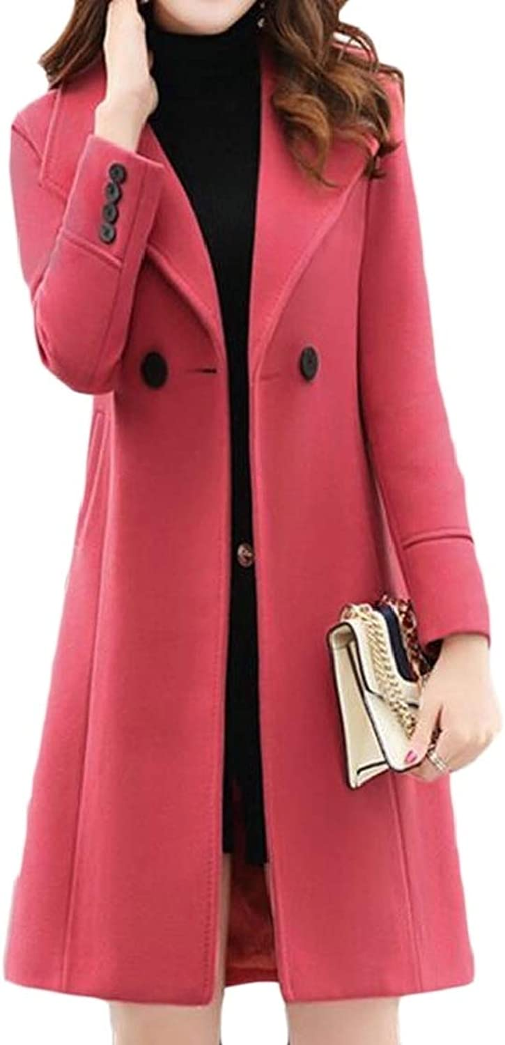 EtecredpowCA Women WoolBlend Double Breasted Outwear Lapel Slim MidLength Pea Coat