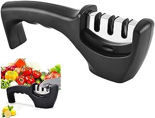 Longsing Profesional Afilador de Cuchillos de Cocina Manual para Afilar Cuchillos, Tijeras, Navajas, Cuchillos Jamoneros (Negro)