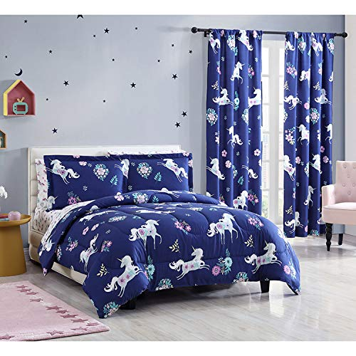 HowPlum Twin Girls Unicorn Comforter Bedding Set, Navy Blue, Purple and Teal Flowers