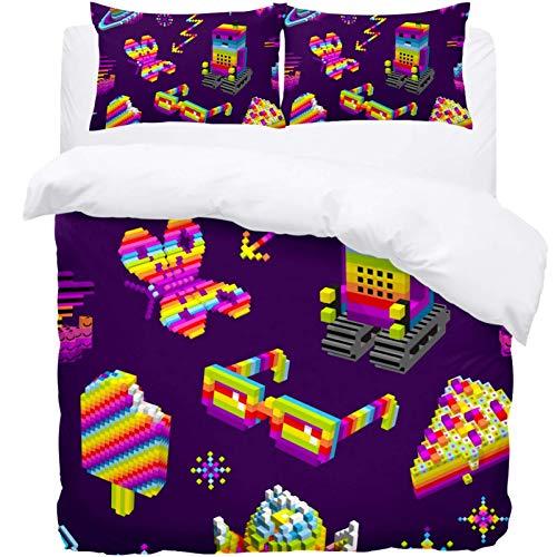 TIZORAX Double Bedding Duvet Cover Set -Pixel Art Robot Planet Butterfly And Deserrt 3 Piece Microfiber Comforter Set Quilt Cover and 2 Pillow Shams for Men Women
