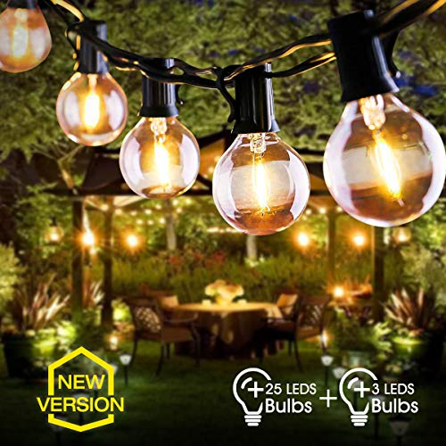 LED Outdoor String Lights FOCHEA 31ft G40 Garden Patio Outside Globe String Lights Warm White with 25Pcs E12 Bulbs for Indoor & Outdoor Décor Wedding Backyard Patio Cafe Garden Party Decoration