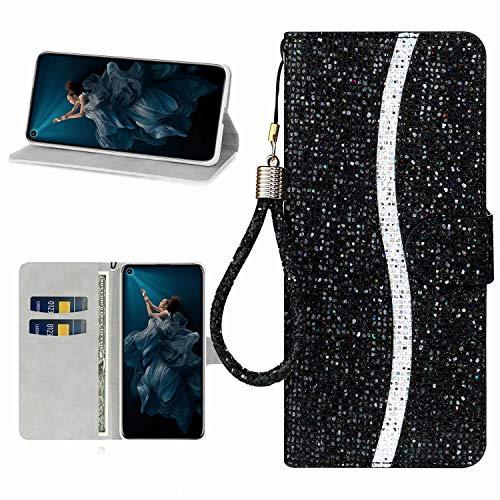 Miagon Glitzer Handyhülle für Samsung Galaxy A21,Fischschuppen Bling Brieftasche Pu Leder Klapphülle Case Glänzend Magnet Cover mit Tasche und Handschlaufe,Schwarz