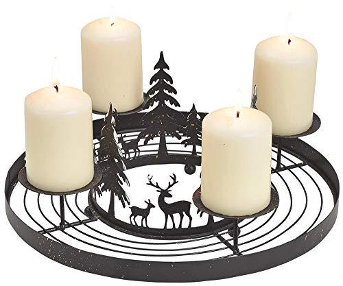 matches21 Metall Adventskranz mit 4 Kerzenhaltern & Wald Hirsche Adventsgesteck zum Ausschmücken - schwarz Ø 30x13 cm
