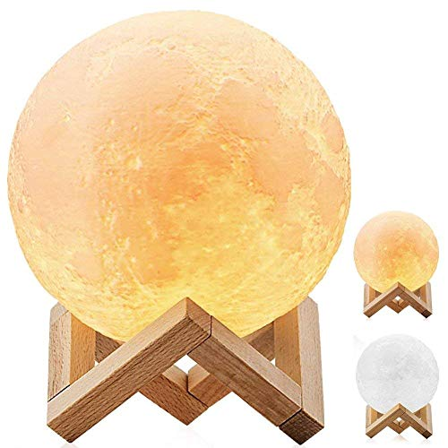 DESABF Full Moon Lamp 3D LED Night Modern Floor Lamp Dimmable Touch Control Brigntness USB Charging White Warm Light Luna Moon lamp with Stand 8cm Diameter