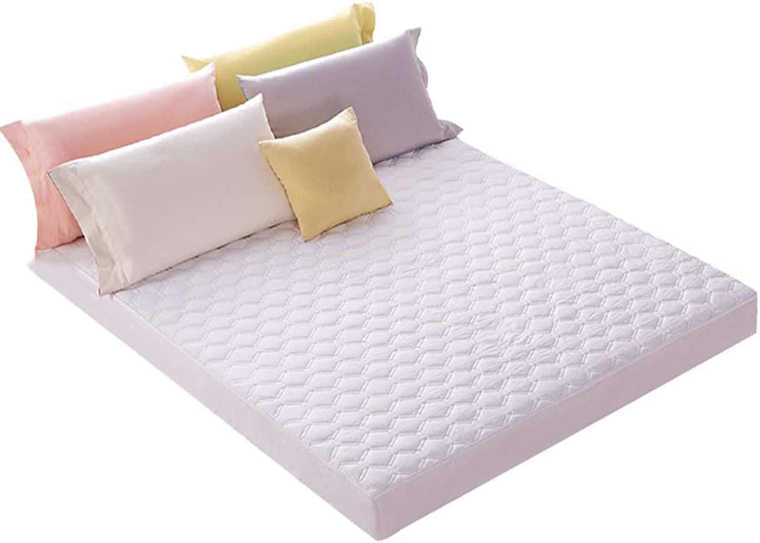 ZHAOHUI Mattress Predector Cotton Hypoallergenic Breathable Anti-mite Quilted Noiseless Keep Warm Soft Skin-Friendly, 4 colors, 4 Sizes (color   White, Size   120X200cm)
