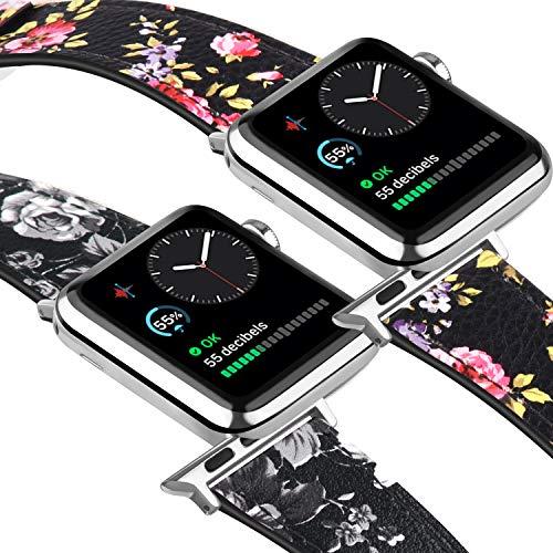 Tobfit - Correa de piel compatible con Apple Watch de 38 mm, 40 mm, 42 mm, 44 mm, para hombres y mujeres, compatible con iWatch Series 5/4/3/2/1