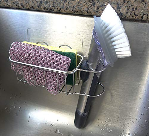 Sponge Holder for Kitchen Sink and Dish Brush Holder (2-in-1) – No Fall, Adhesive, Durable, Waterproof – in Sink Dish Sponge Holder – Adhesive, Stainless Steel, Rust Proof, Water Proof
