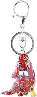 Marte&Joven Basset Hound Keychain for Women Dog Lover Unique Enamel Dog Jewelry Gift