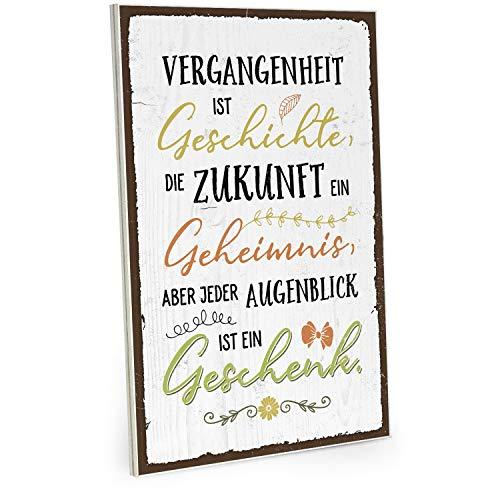 ARTFAVES Holzschild mit Spruch - Jeder Augenblick ist EIN Geschenk - Vintage Shabby Deko-Wandbild/Türschild