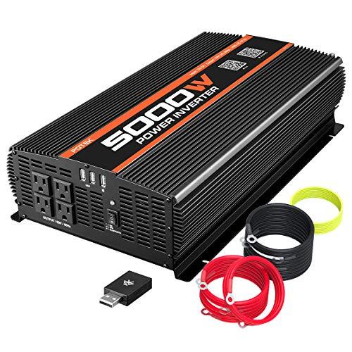 POTEK 5000W Power Inverter 4 AC Outlets 12V DC to 110V AC Car Inverter with Bluetooth and 2 USB Ports