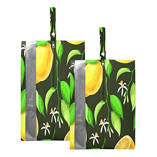 F17 Bolsas de viaje para zapatos de flores, hojas de limón, frutas y zapatos, bolsa de almacenamiento, impermeable, portátil, ligera, bolsa de almacenamiento para hombres y mujeres, 2 unidades