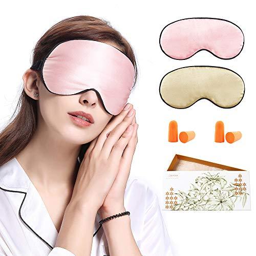 LilySilk Schlafmaske 2er Pack Damen Herren 100% Seide Hautfreundlich für Allergiker | Perfekt Sitz | Schlafbrille Augenmaske Nachtmaske - Zufällige Farben 2er Pack mit 2 Paare Ohrstöpseln