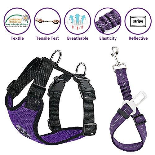 Lukovee Dog Safety Vest Harness with Seatbelt, Dog Car Harness Seat Belt Adjustable