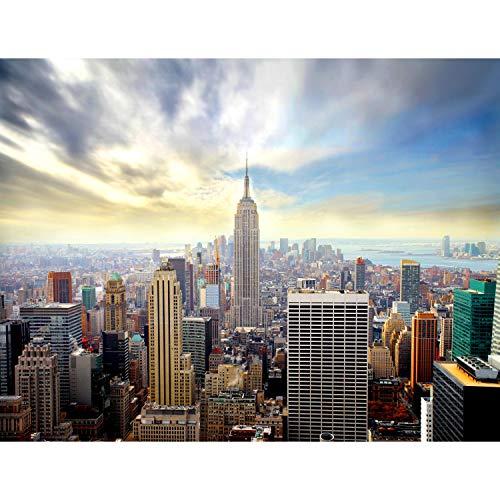 Fototapete New York skyline 352 x 250 cm Vlies Tapeten Wandtapete XXL Moderne Wanddeko Wohnzimmer Schlafzimmer Büro Flur Blau 9005011a