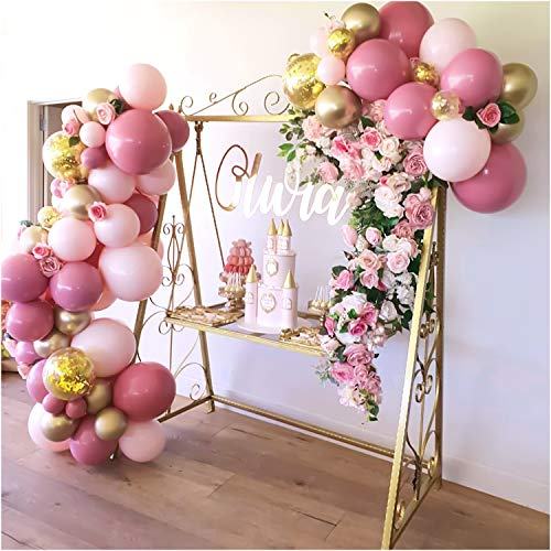 136Pcs Pink and Gold Confetti Balloons, Balloon Garland Arch Kit, Pink and Gold Balloons for Parties, Birthday Wedding Party Balloons Decorations, Baby Shower Decorations for Girl Boy