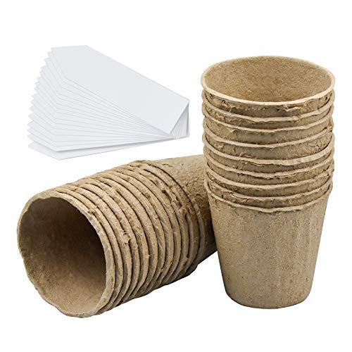 100 pcs Macetas Biodegradables Semilleros Biodegradables de 8 cm con 50 Etiquetas Biodegradable, Orgánico y Ecológico