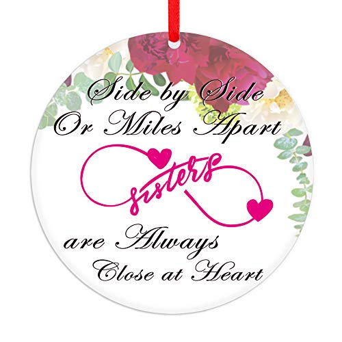 WaaHome 3'' Side by Side Or Miles Apart Sisters are Always Close at Heart Christmas Ornaments, Christmas Tree Ornaments Gifts for Sister Friends Women