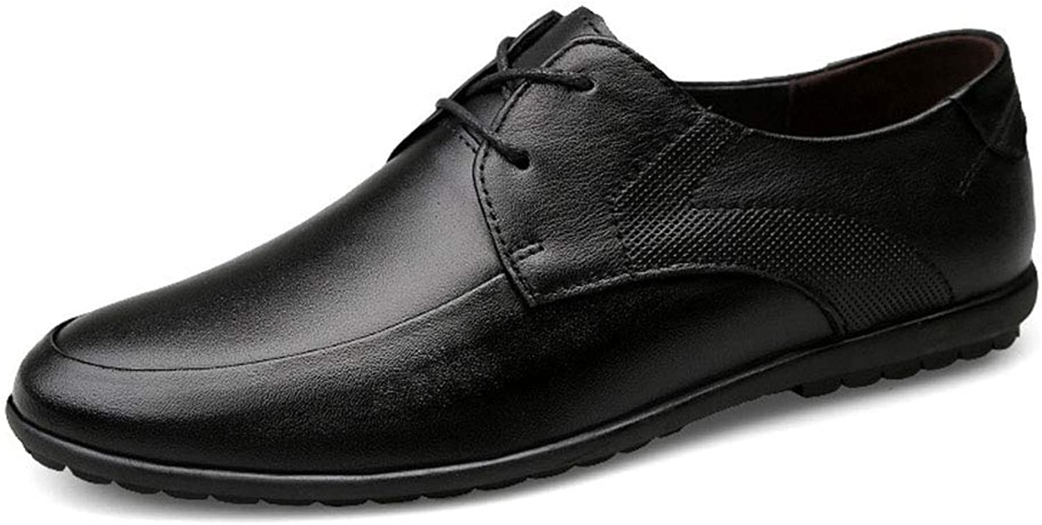 Hy-w Men's shoes, Spring New Leather shoes,man Casual Slip On Flat Loafers Youth Driving shoes Lazy shoes (color   Black, Size   43)
