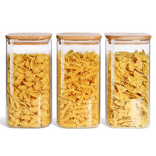 ComSaf 1500ml Tarros de Cristal con Tapa Conjunto de 3, Botes de Vidrio de Borosilicato con Tapa de Bambú y Anillo de Sellado de Silicona, Hermético Transparente Cocina Recipientes para Alimentos