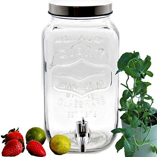 Bada Bing Getränkespender 3,5l aus Glas mit Zapfhahn und Deckel + Wein Fibel