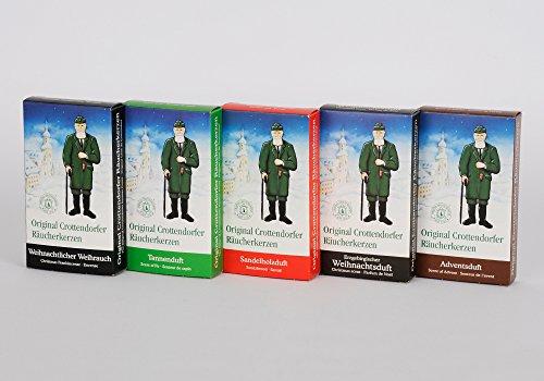 Original Crottendorfer Räucherkerzen Weihnachtsmischung - Sparpack - Probierset - 5 Packungen mit je 24 Duftkegel, Größe M